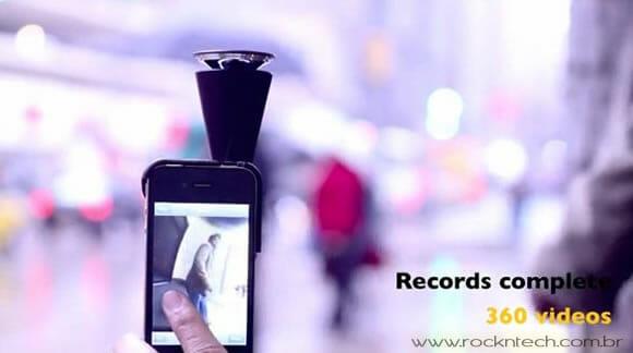 Acessório especial transforma seu iPhone em uma câmera que grava filmes em 360º.