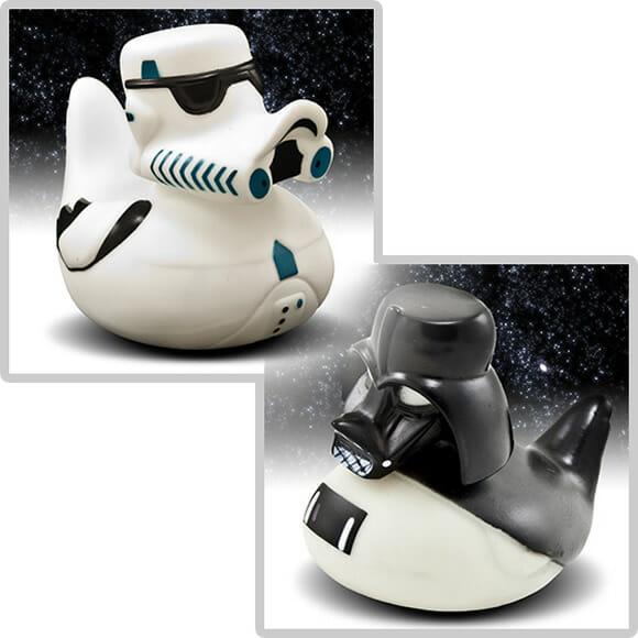 Personagens de Star Wars em forma de pato de borracha.
