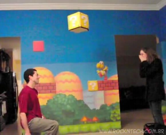 Pedido de casamento geek tem que ter cenário do Super Mario! (com vídeo)