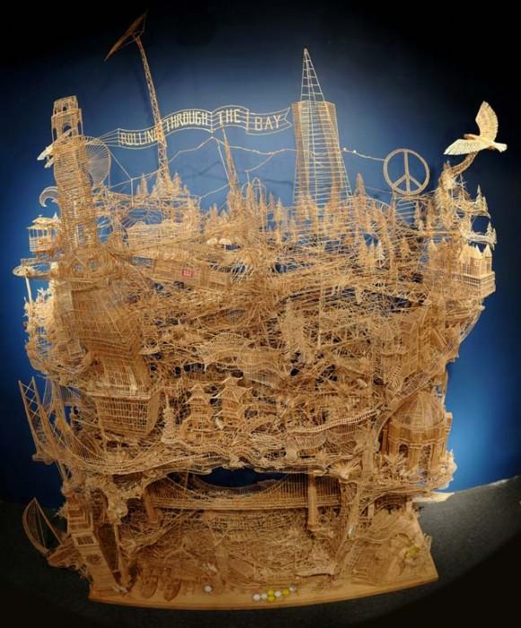 Uma incrível maquete feita com mais de 100 mil palitos de dente! (com vídeo)