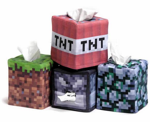 Caixas de lenços inspiradas no jogo Minecraft