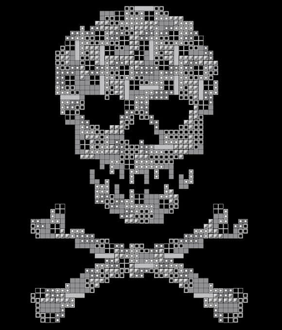 Camiseta Caveira de Tetris.