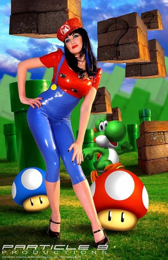 Traje feminino do Super Mario para um cosplay sexy.