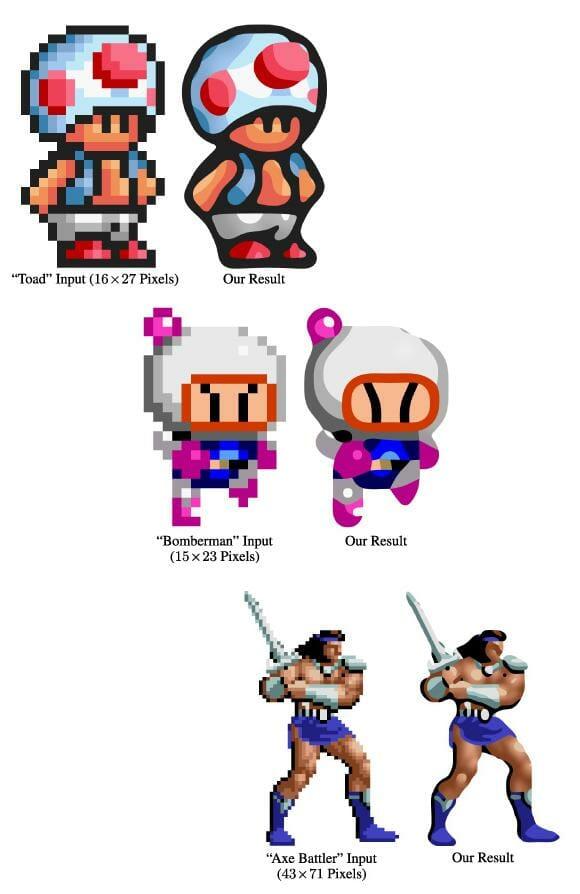 """Nova técnica de """"despixelização"""" poderá aperfeiçoar gráficos em jogos de 8 e 16-bits."""