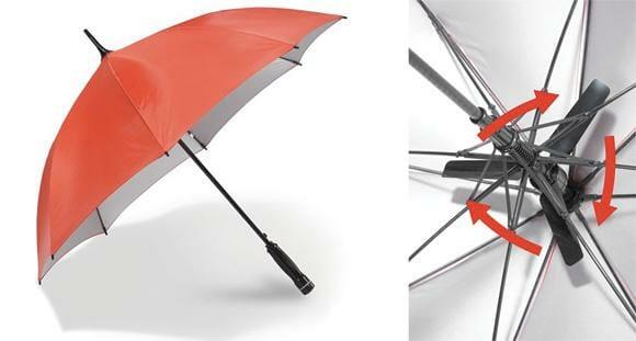 Guarda-chuva com ventilador embutido para proteger e refrescar em dias de calor intenso.