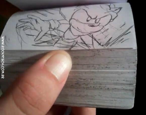 VIDEOFUN - Animação do Sonic feita com um Flip Book. LOL!