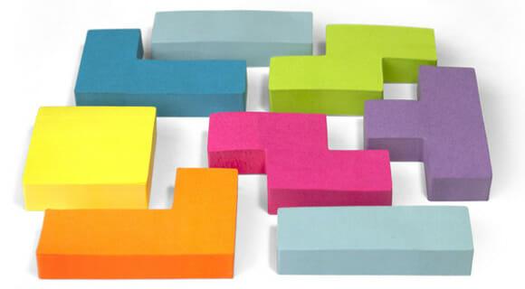 Post-its em forma de peças de Tetris para anotar e jogar!