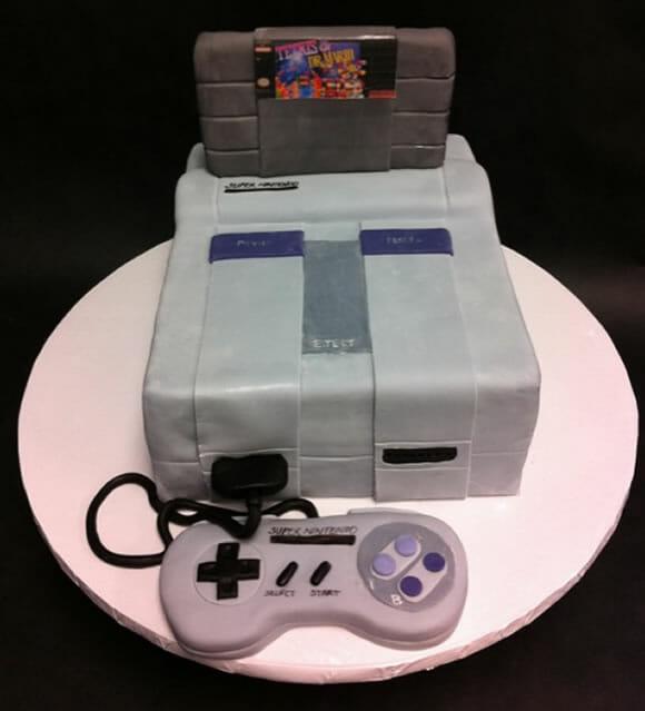 Um bolo do Super Nintendo para um casal geek!
