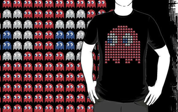 Camiseta Ghosts para fãs de Pac-Man.