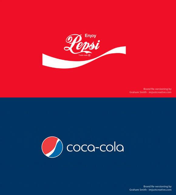 FOTOFUN - Marcas invertidas: Pepsi vs Coca-Cola.