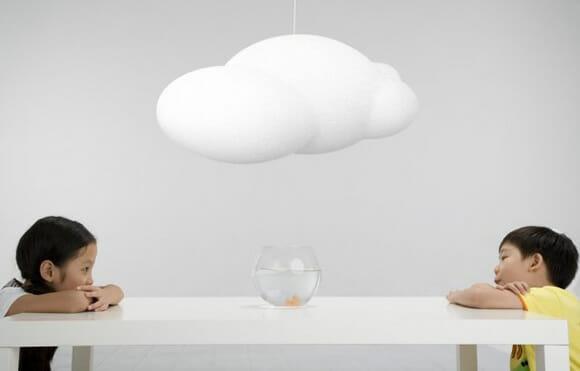 Luminárias em forma de nuvem. Cool!