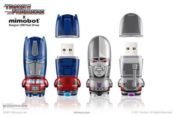 Novos pen drives Mimobot Transformers.