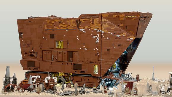Uma réplica perfeita de um Sandcrawler do filme Star Wars feito de LEGO. (com vídeo)