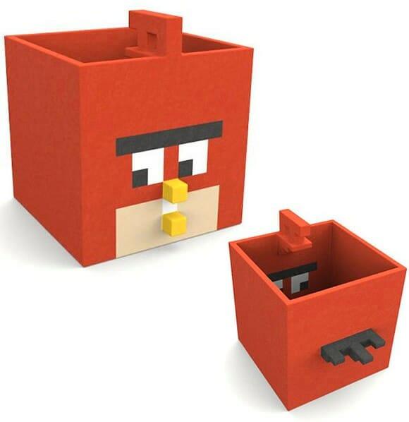 Porta canetas do game Angry Birds para organizar sua mesa!