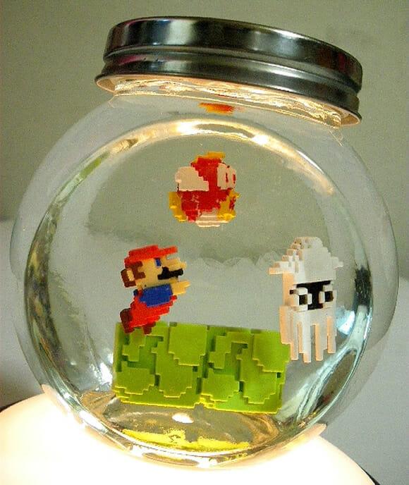 Aquário de geek ao invés de peixe tem Super Mario!
