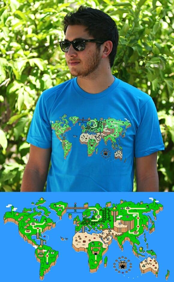 Camiseta criativa traz estampa do Mapa-múndi só que em estilo Super Mario World.