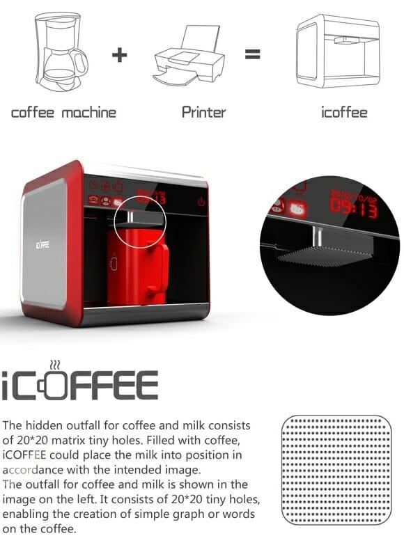 iCoffee - Uma curiosa máquina de café com leite que imprime desenhos em seu café.