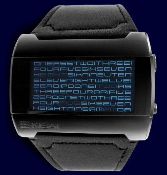 Relógio de pulso Kisai Kaidoku exibe as horas em forma de texto.