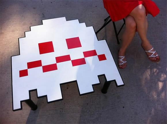 Mesa de centro dos fantasmas do Pac-Man.