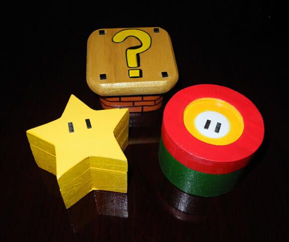 Porta trecos em forma de itens e objetos do game Super Mario.