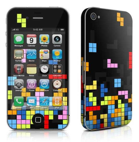 Adesivo do Tetris para iPhone 4.