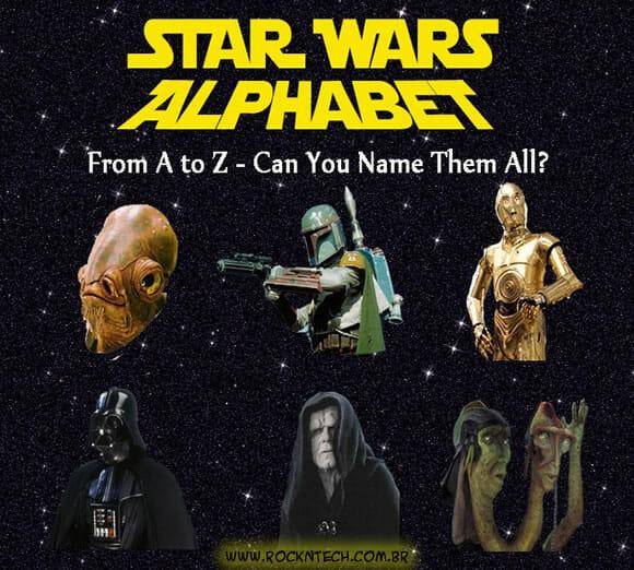 Alfabeto Star Wars - Sabe o nome de todos esses personagens?