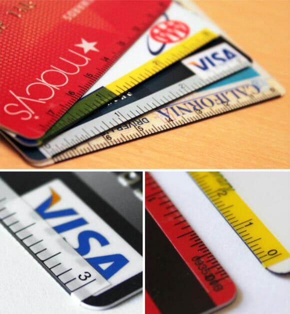 Adesivos especiais transformam seus cartões de crédito em réguas!