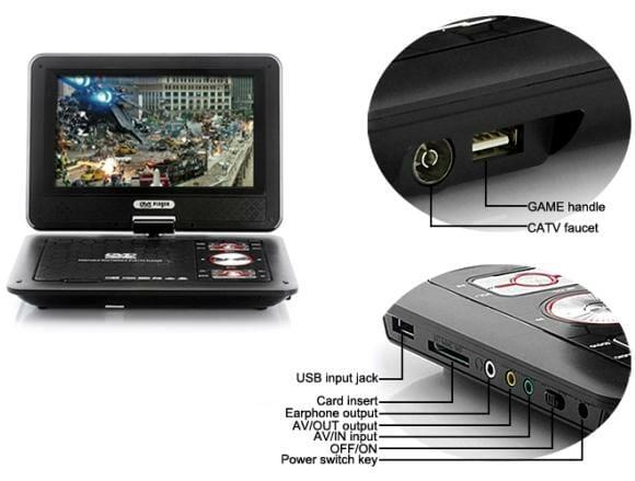 DVD Player portátil que também extrai músicas de CDs e roda ROMs de games.