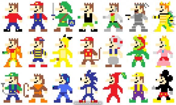 FOTOFUN - Super Mario estilo 8-bits vestido de outros personagens.