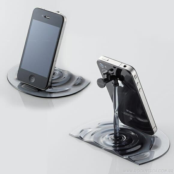 Elecom lança um curioso suporte para iPhones e iPads em forma de torneira.