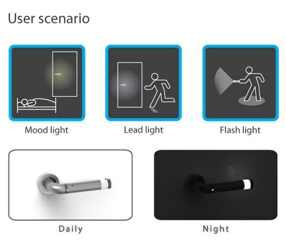 LEDoorHandle - Uma maçaneta que se transforma em uma lanterna de LEDs.