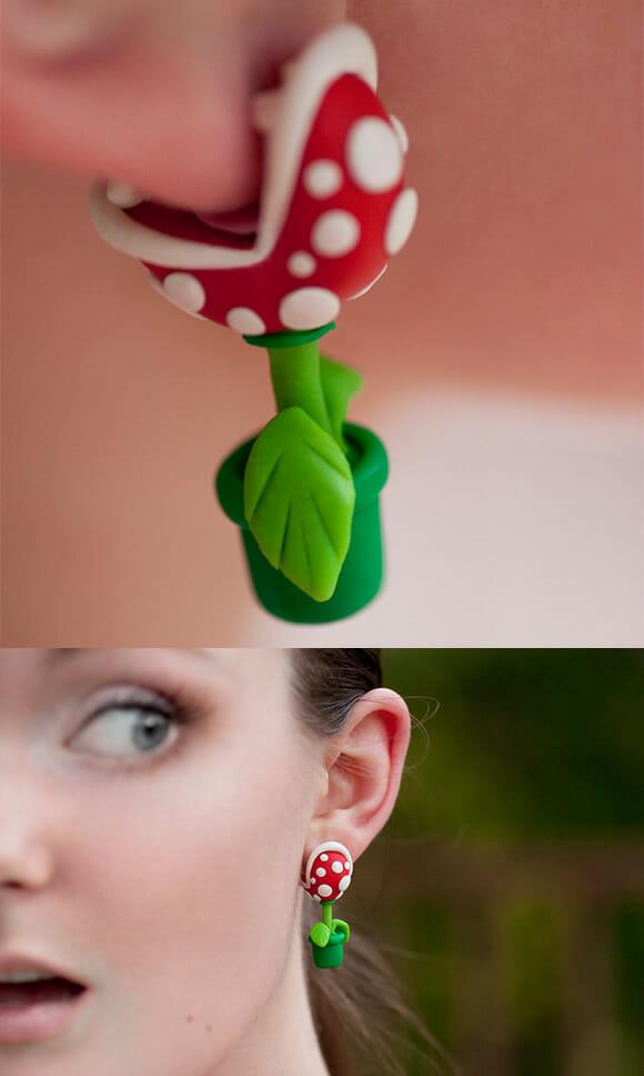 Brincos geeks imitam a Piranha Plant do Super Mario.