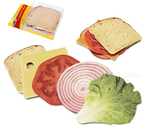 Porta-copos em forma de sanduíche.