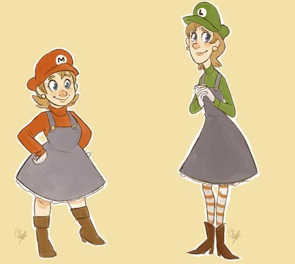 E se os personagens do Super Mario trocassem de sexo?