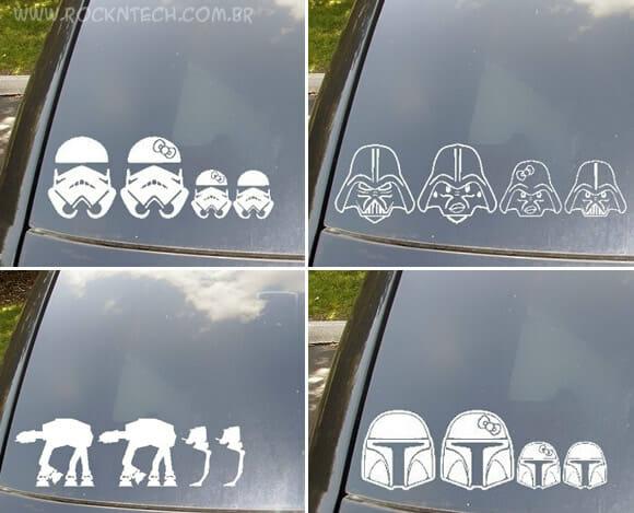 Em carros de Geeks os adesivos da família só podem ser do Star Wars ou Super Mario!