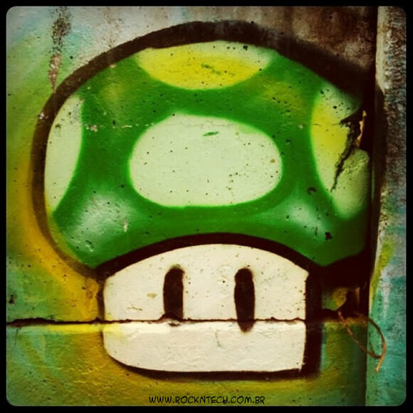 Arte geek de rua: Grafite do Super Mario.