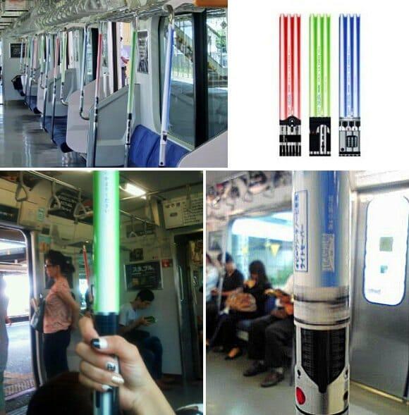 Trens de Tókio ganham decoração com Sabres de Luz de Star Wars.