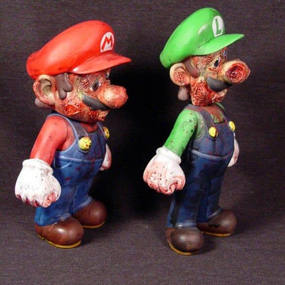 Artista recria personagens Super Mario e Luigi em versão Zumbi