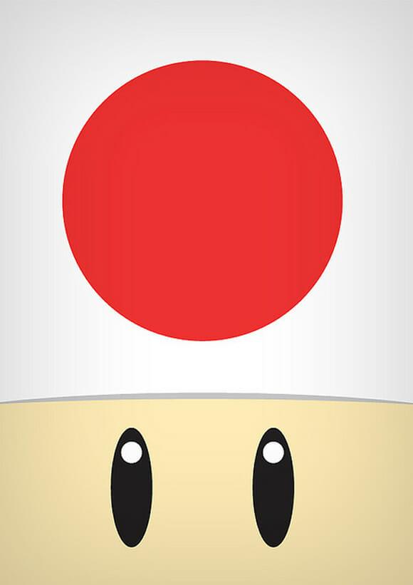 Versão minimalista dos personagens do Super Mario.