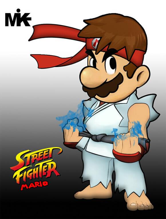 Que tal misturar Super Mario com Street Fighter?