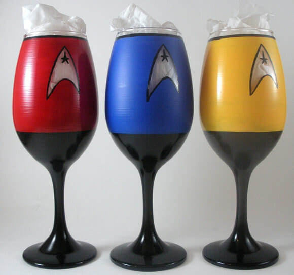 Taças de vinho inspiradas em Star Trek.