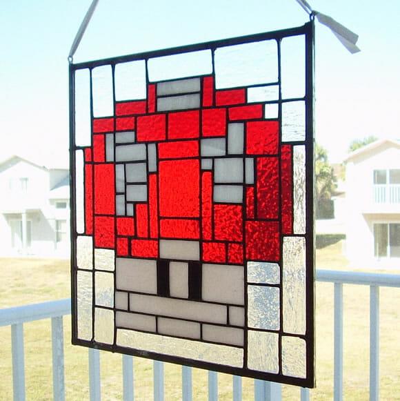 Vitral do Super Mushroom para fãs de Super Mario.