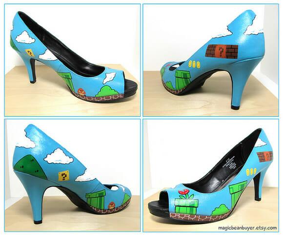 Sapato geek chic para fãs de Super Mario
