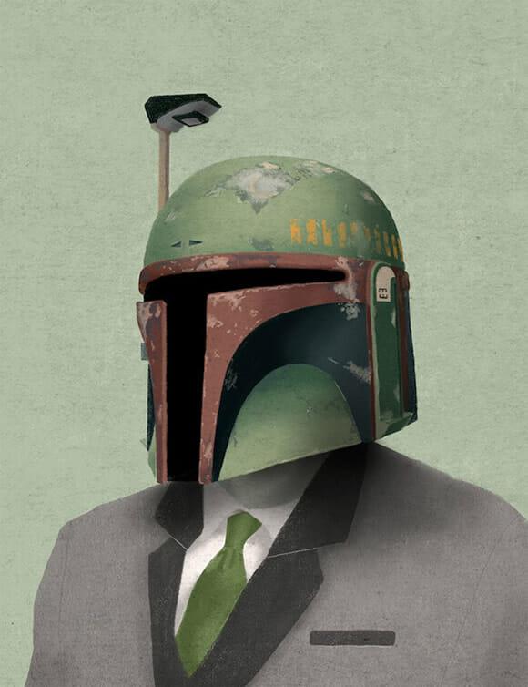 Personagens de Star Wars de terno e gravata.