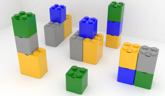 Blocos de LEGO gigante estimulam a reciclagem
