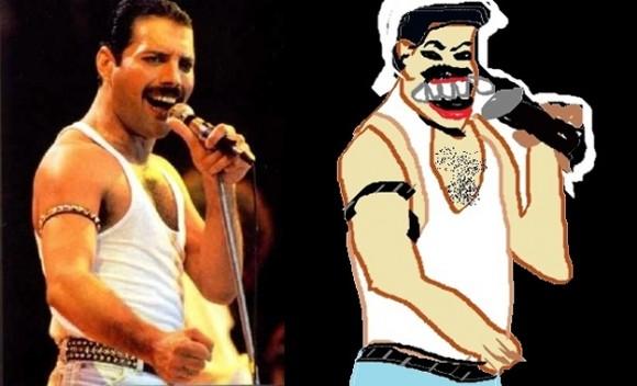 Caricaturas de celebridades feitas no Paint.