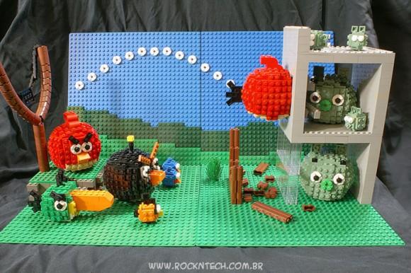 FOTOFUN - Cenário do Angry Birds recriado com blocos de LEGO.