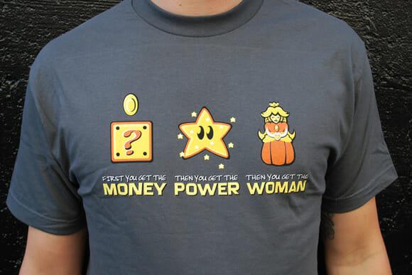 Super Mario ensina: Dinheiro -> Poder -> Mulher!