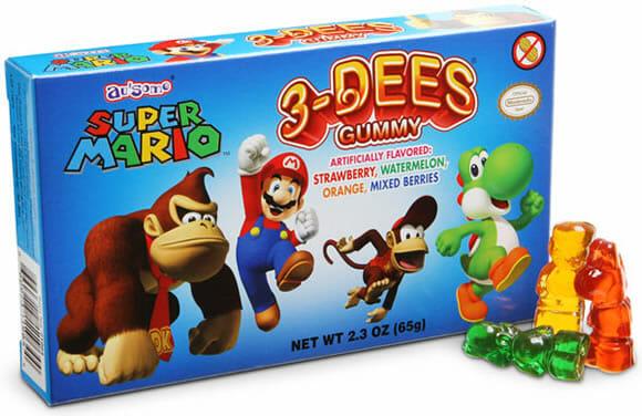 As gomas de mascar são do Super Mario, mas não têm gosto de Cogumelo