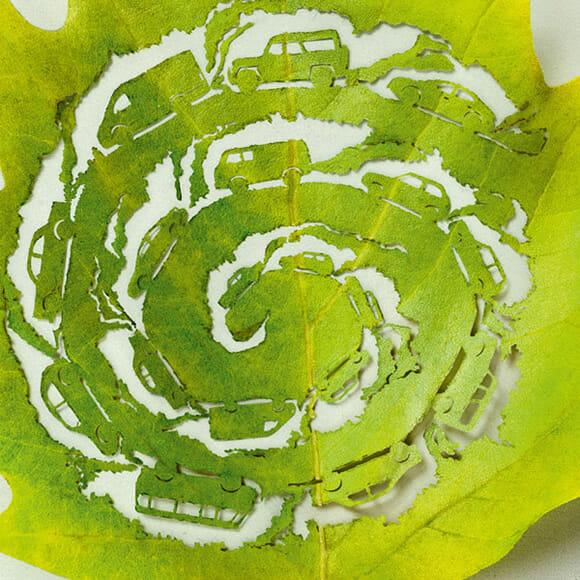 Campanha usa arte em folhas de árvores para lembrar da responsabilidade ambiental